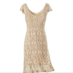 Pyramid Collection Cream Crochet Dress